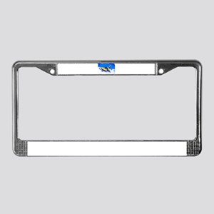 Yellow Snowmobile in Blizzard License Plate Frame