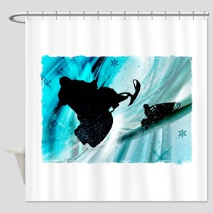 Snowmobiling on Icy Trails 2 Shower Curtain