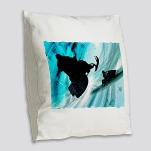 Snowmobiling on Icy Trails 2.p Burlap Throw Pillow