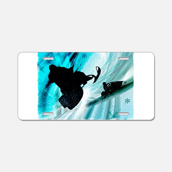 Snowmobiling on Icy Trails Aluminum License Plate