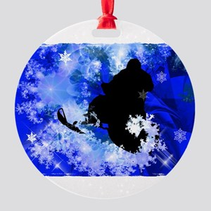 Snowmobiling in the Avalanche Edges Round Ornament