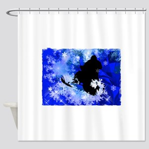 Snowmobiling in the Avalanche Edges Shower Curtain