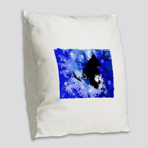 Snowmobiling in the Avalanche Burlap Throw Pillow