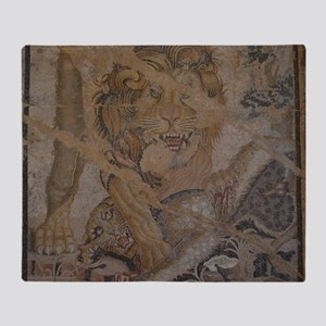 Pompeii Lion Mosaic Throw Blanket
