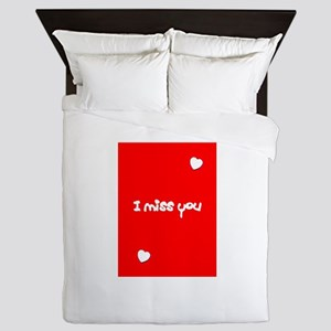 I Miss You Heart Valentines Red for Ji Queen Duvet
