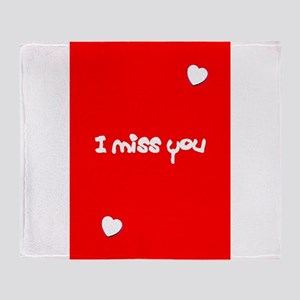 I Miss You Heart Valentines Red for Throw Blanket