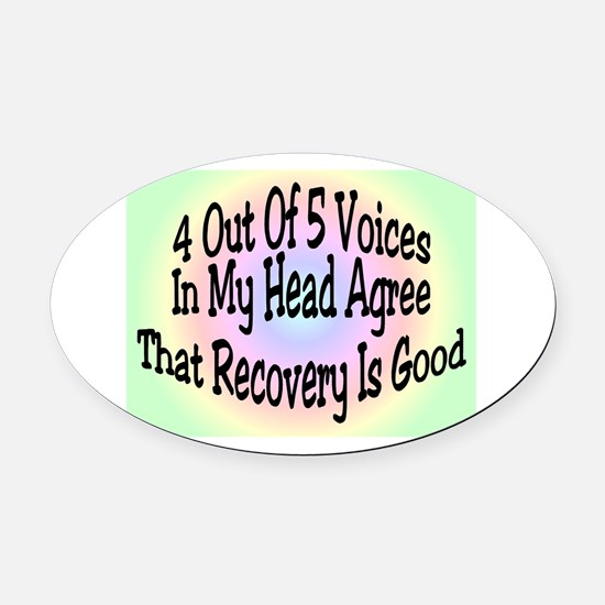 4 Out Of 5 Voices Oval Car Magnet