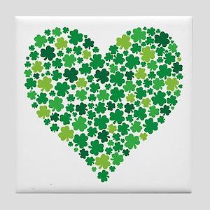 Irish Shamrock Heart - Tile Coaster