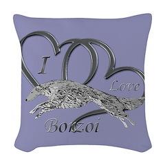 Borzoi Valentine Woven Throw Pillow