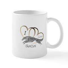 I Love Borzoi Gold Silver Mugs