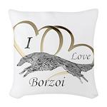 I Love Borzoi Gold Silver Woven Throw Pillow