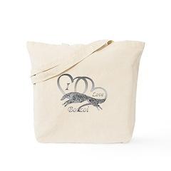 I Love Borzoi Silver Tote Bag