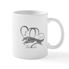 I Love Borzoi Silver Mugs