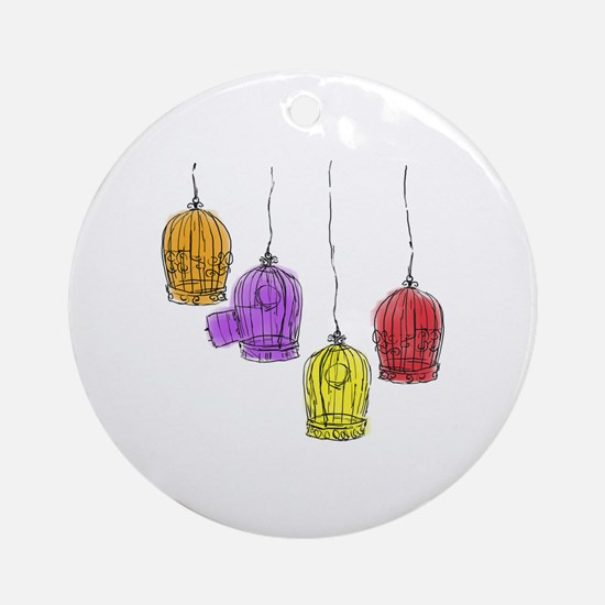 Colorful Birdcages 2 Ornament (Round)