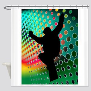Snowboard in Cosmic Snowstorm Shower Curtain