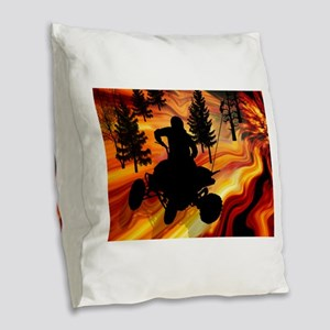 ATV on the Road from Hell Burlap Throw Pillow