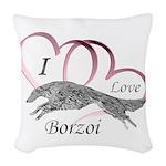 Borzoi Valentine Pink Woven Throw Pillow
