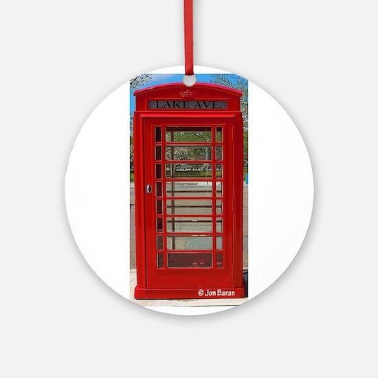 British Telephone Booth Round Ornament