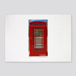 British Telephone Booth 5'x7'Area Rug