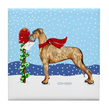 Great Dane Brindle UC Mail Tile Coaster