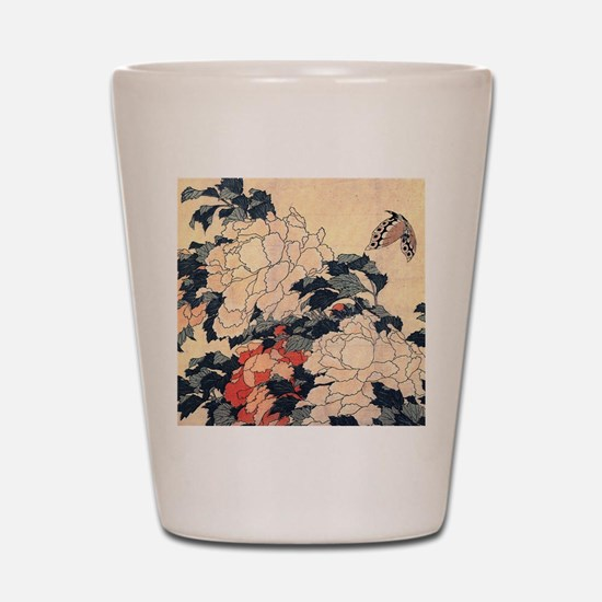 Hokusai Peonies and Butterfly Shot Glass