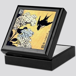 Hokusai Hydrangea and Swallow Keepsake Box