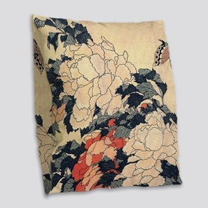 Hokusai Peonies and Butterfly Burlap Throw Pillow