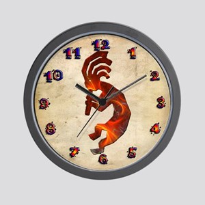 Fire Red Kokopelli Wall Clock