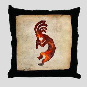 Fire Red Kokopelli Throw Pillow