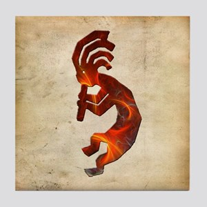 Fire Red Kokopelli Tile Coaster
