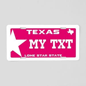 Pink Texas Aluminum License Plate