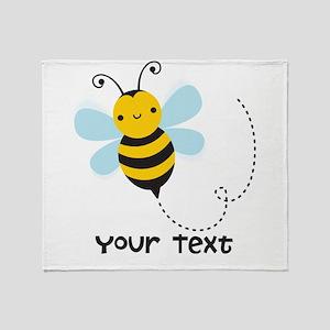 Personalzied Kid's Honey Bee, Black & Yellow Throw