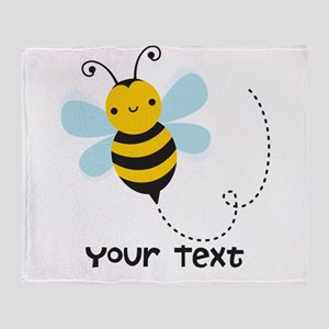 Personalzied Kid's Honey Bee, Black & Yellow Throw