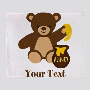 Cute Honey Bear; Personalized Kid's Graphic Throw