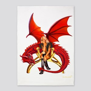 The Girl With the Red Dragon 5'x7'Area Rug