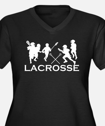 LACROSSE TEAM - Women's Plus Size V-Neck Dark T-Sh