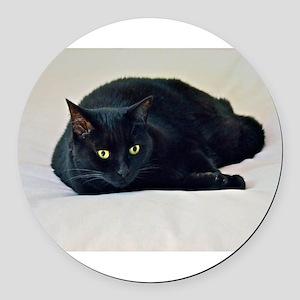 Black Cat! Round Car Magnet