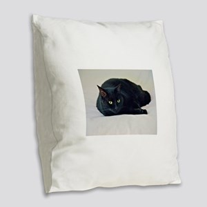 Black Cat! Burlap Throw Pillow