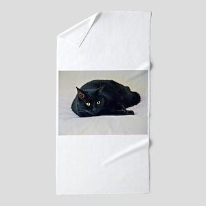 Black Cat! Beach Towel