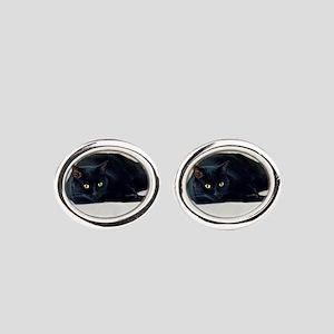 Black Cat! Oval Cufflinks