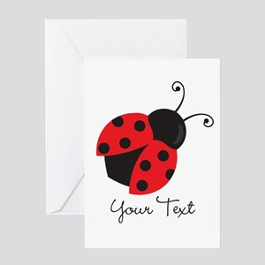 Red and Black Ladybug; Kid's, Girl's Greeting Card