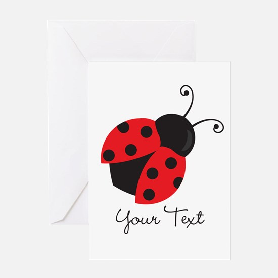 Red and Black Ladybug; Kid's, Girl's Greeting Card