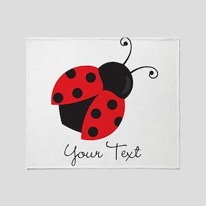 Red and Black Ladybug; Kid's, Girl's Throw Blanket