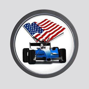 Blue Race Car with American Flag Wall Clock
