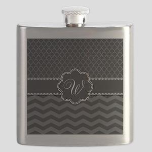 Monogram Black/Gray Chevron Script Flask