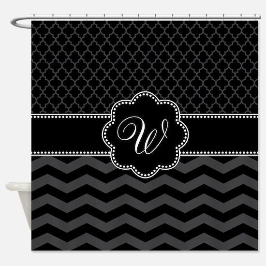 Monogram Black/Gray Chevron Script Shower Curtain