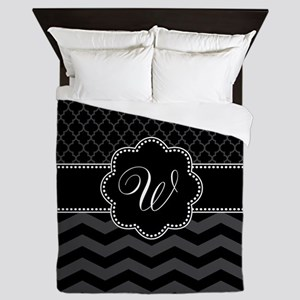 Monogram Black/Gray Chevron Script Queen Duvet