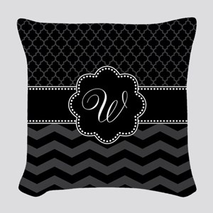 Monogram Black/Gray Chevron Sc Woven Throw Pillow