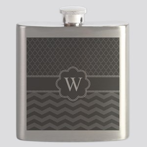 Monogram Black/Gray Chevron Block Flask