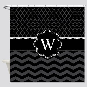 Monogram Black/Gray Chevron Block Shower Curtain
